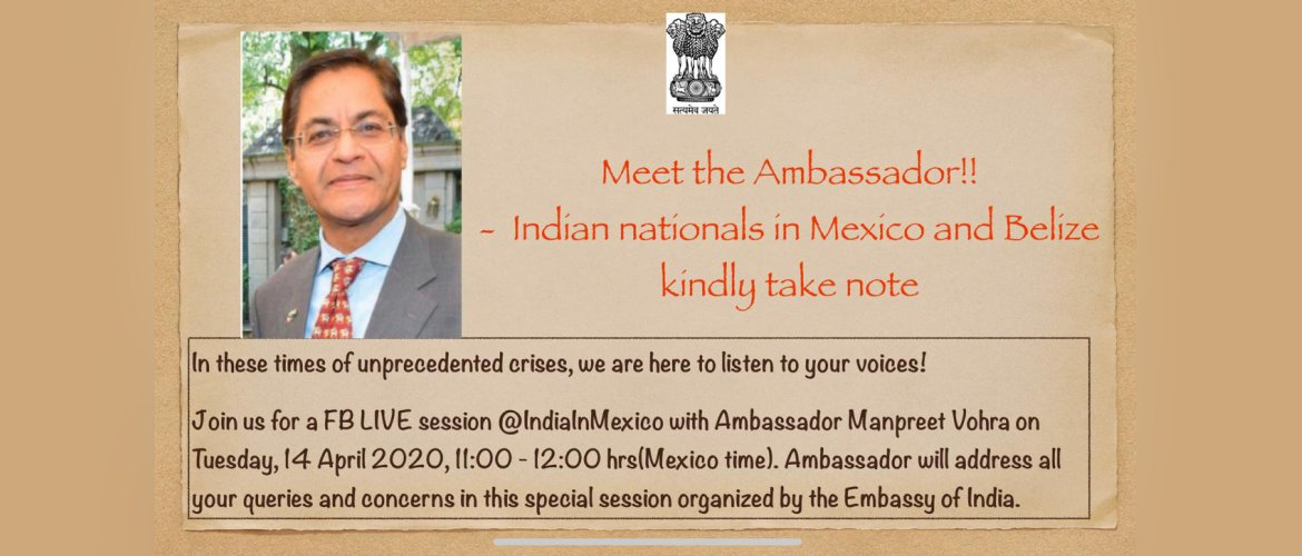 Ambassador to interact with Indian community in Mexico and Belize - 14 April, 2020 at 11am